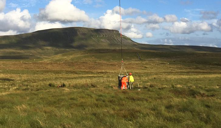 Ingleton stone donation. Air time… a helicopter delivered the stone in two-tonne loads