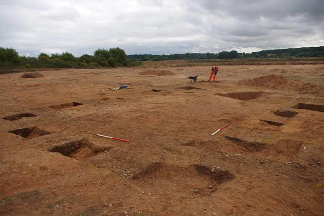 Excavation of a rectangular Saxon enclosure at Barton quarry.